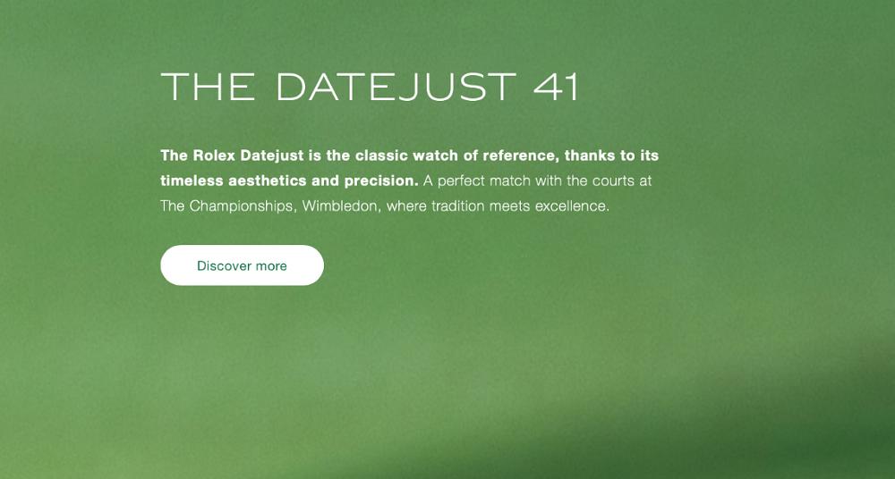 Thông tin về Rolex Datejust 41 cho giải đấu Wimbledon
