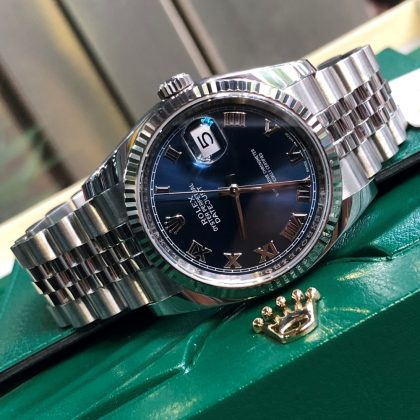 Rolex Datejust 116234 Blue Roman Dial Bezel Fluted