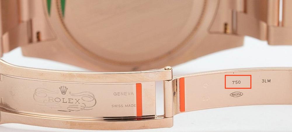 750 được khắc trên khóa đồng hồ Rolex