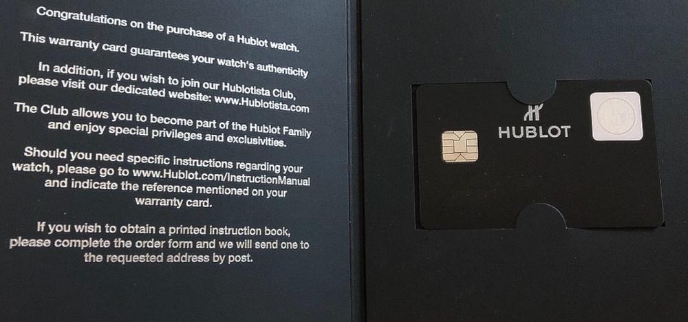 Thẻ bảo hành của Hublot