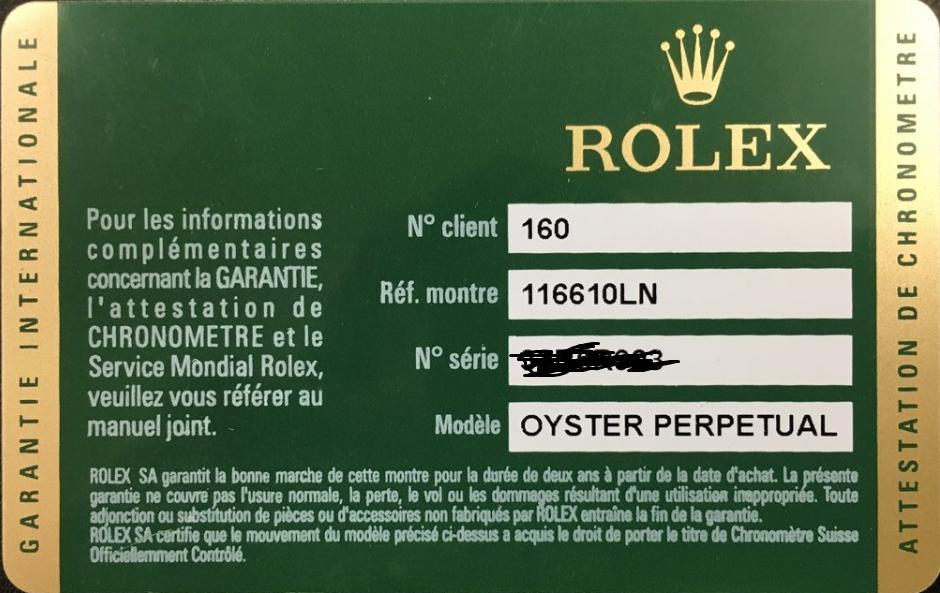 Thẻ bảo hành Rolex