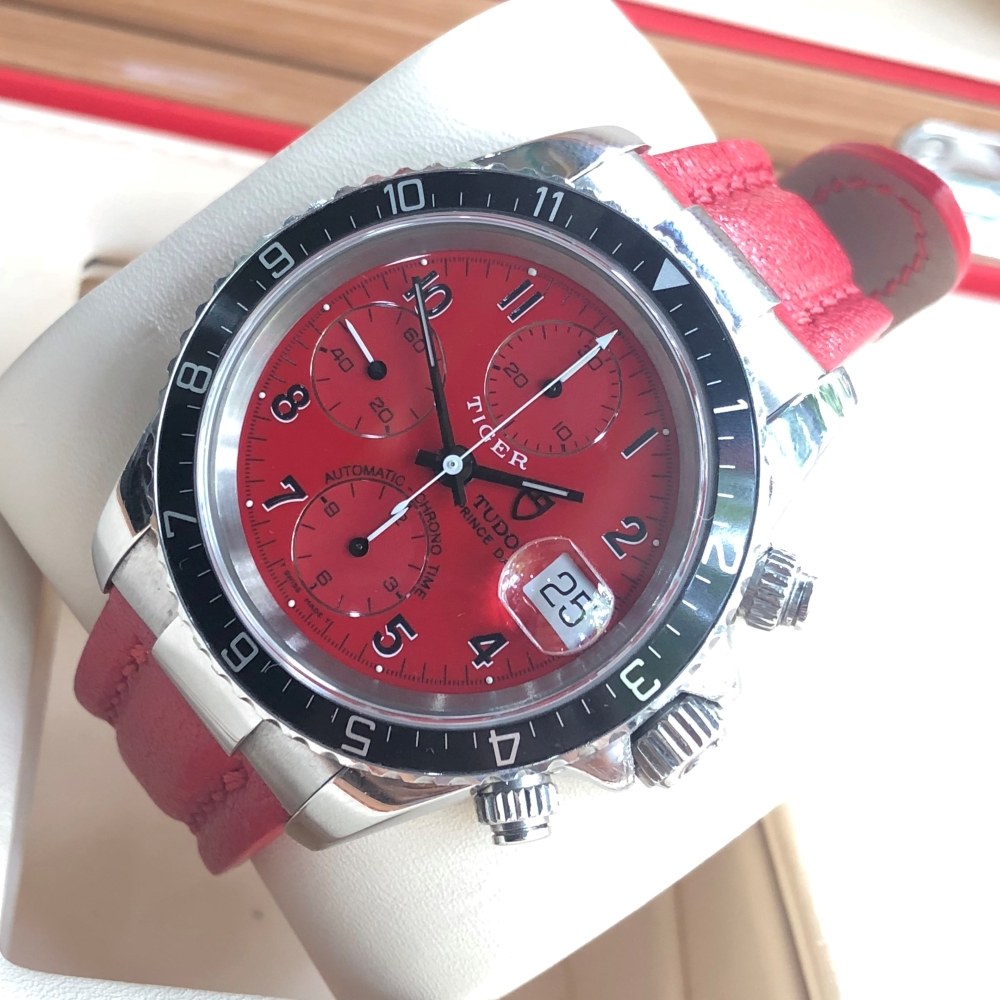 Tudor Tiger Woods Prince Date Chronograph Steel Red Dial 79260