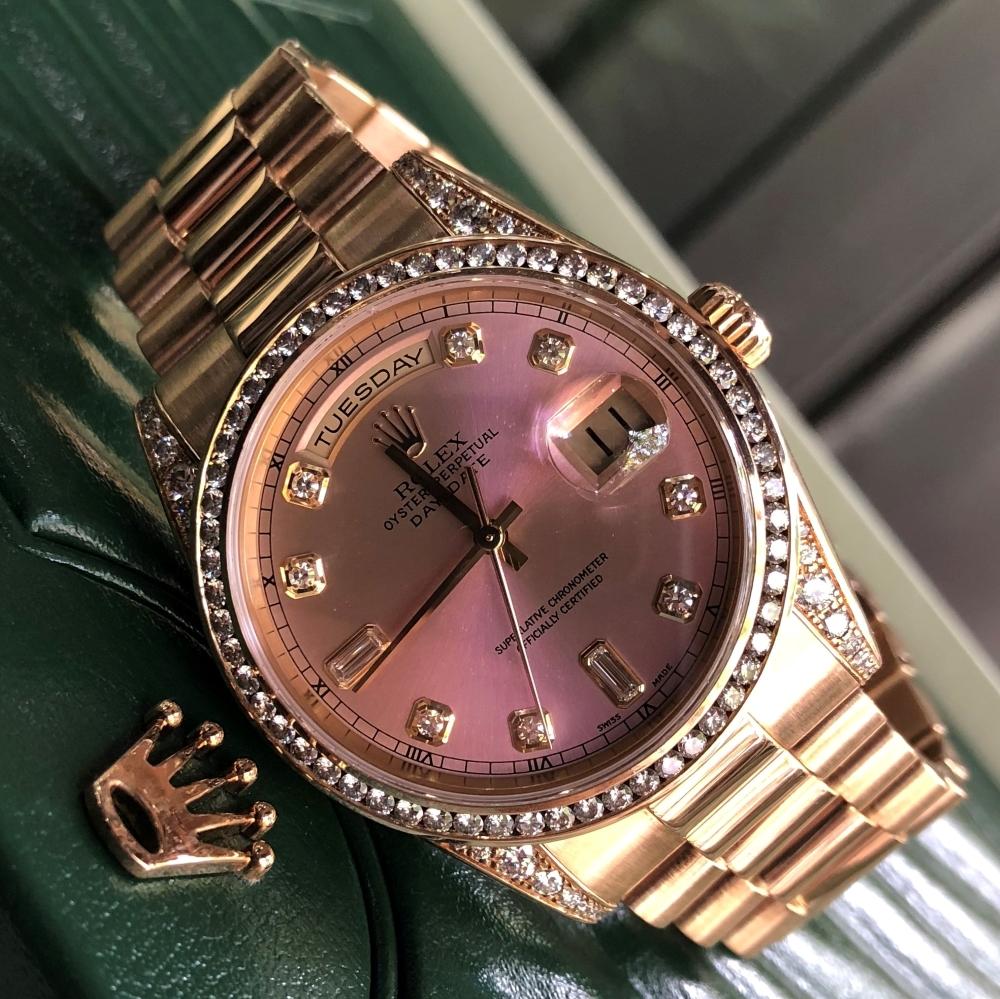 Rolex Day-Date 118338 Yellow Gold 18k Bezel Diamond Fullbox 2005