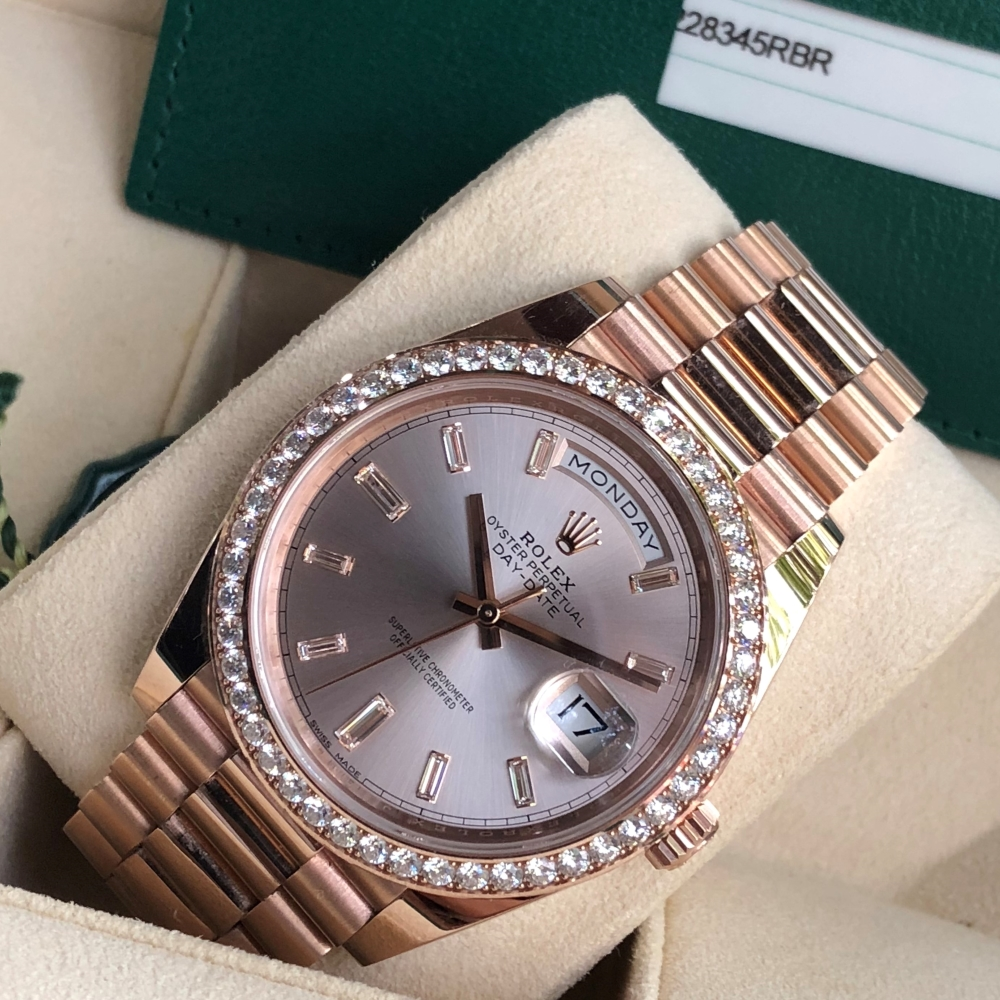 Rolex Day-Date 228345RBR Everose Gold 18k Bezel Diamond Fullbox 2018