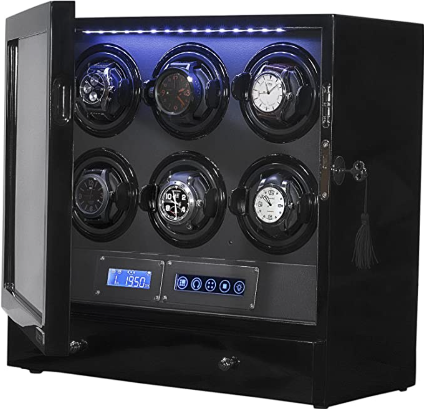 Arcanent 6 + 2 Slot Watch Winder LCD Digital Black Quality Made w/Ball Bearings Japanese Motors with Door Sensor