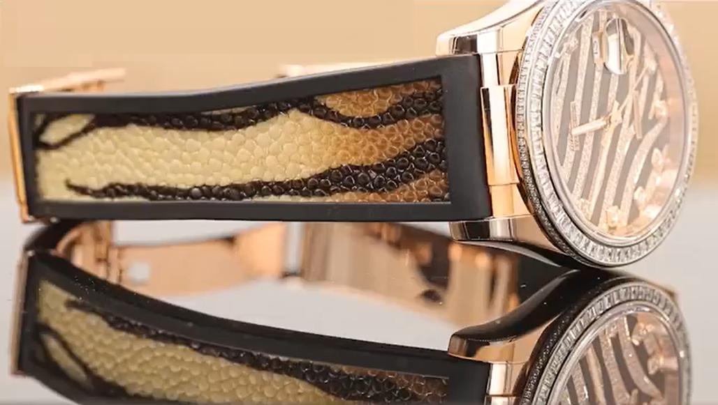 Rolex Datejust 116185BBR trang bị dây đeo da cá đuối