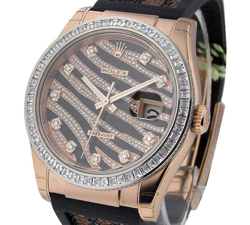 Rolex Datejust 116185BBR có kích thước 36mm có vỏ vàng hồng 18k