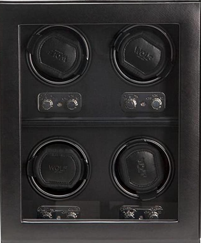 Men's 4 Piece Automatic Watch Winder in Black Faux Leather with Glass Cover Preset Winding Programs