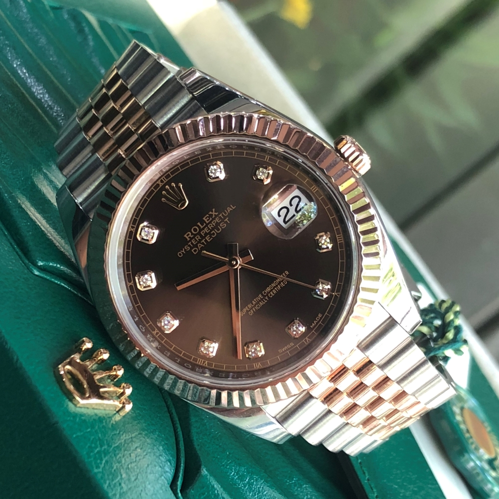 Rolex Datejust II Everose Rolesor 126331 Chocolate Diamond Dial