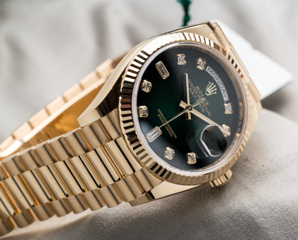 Rolex Day-Date 36mm Yellow Gold & Green Dial