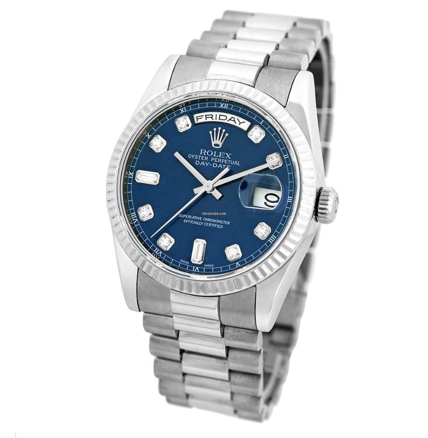 Rolex Day-Date 36mm White Gold Blue Dial