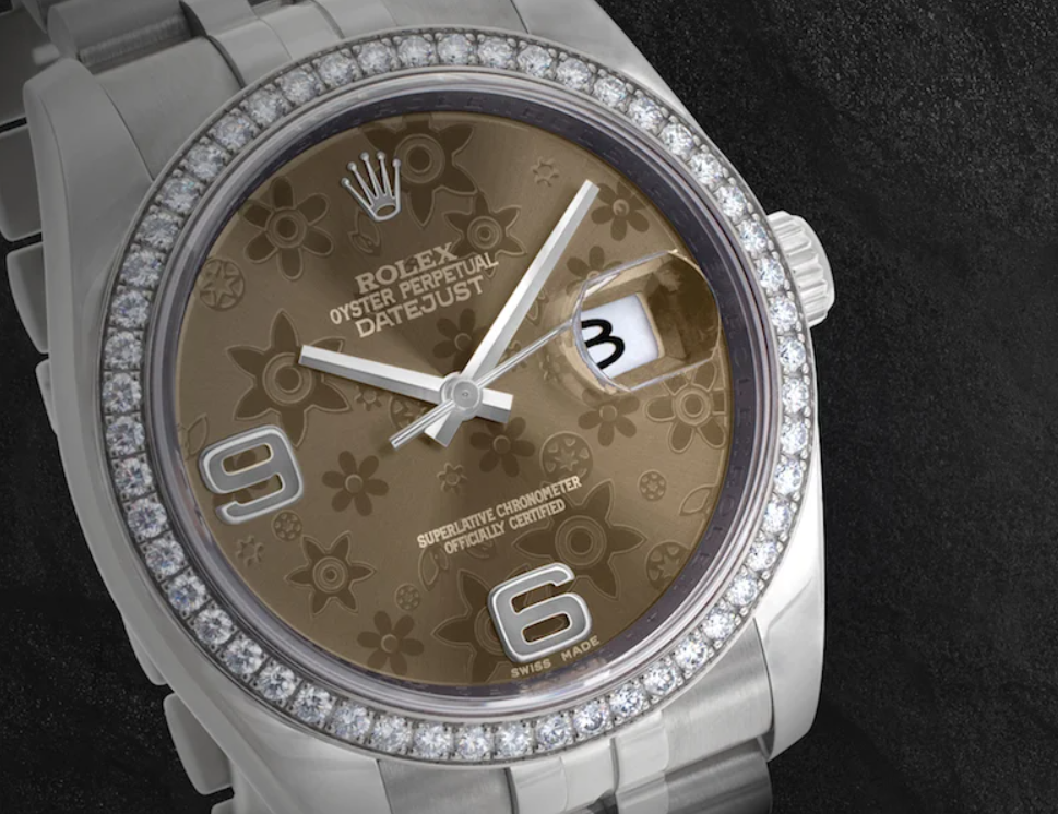 Rolex Datejust ref. 116244 with Bronze Floral Dial