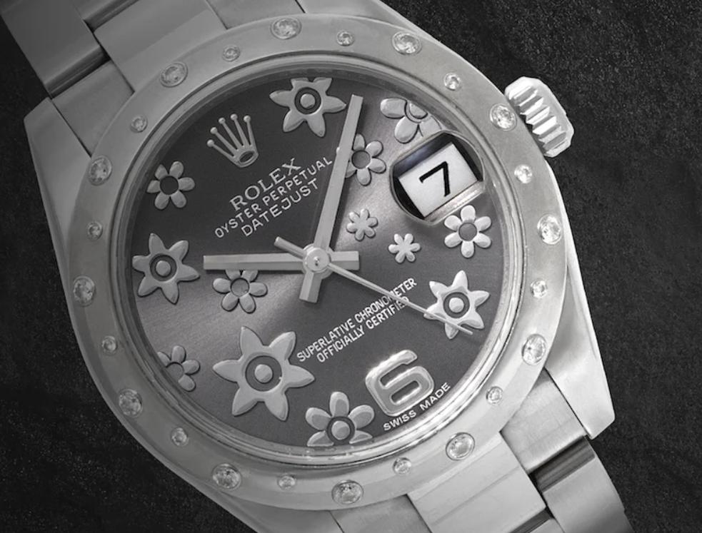 Rolex Datejust ref. 178344 with Dark Rhodium Floral Dial