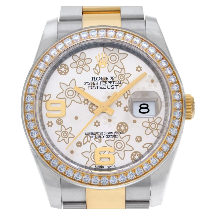 Rolex Datejust ref. 116243 with Silver and Gold Floral Dial