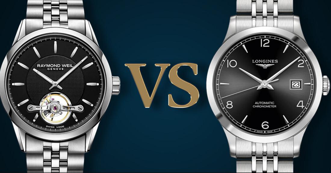 So sánh thương hiệu đồng hồ Longines với Raymond Weil