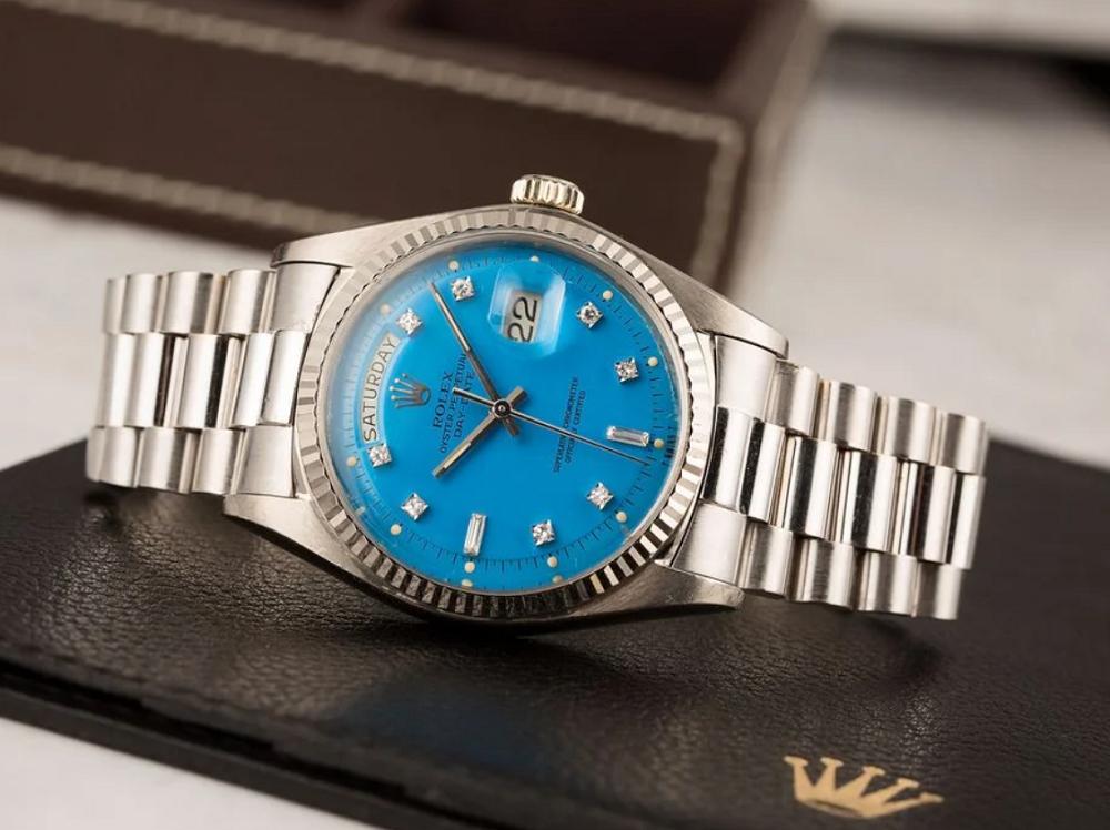 Đồng hồ Rolex Day-Date cổ điển mặt số Stella xanh dương