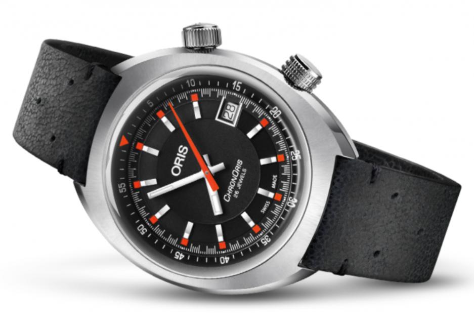 Đồng hồ Oris Chronoris Date Black Dial Black Leather
