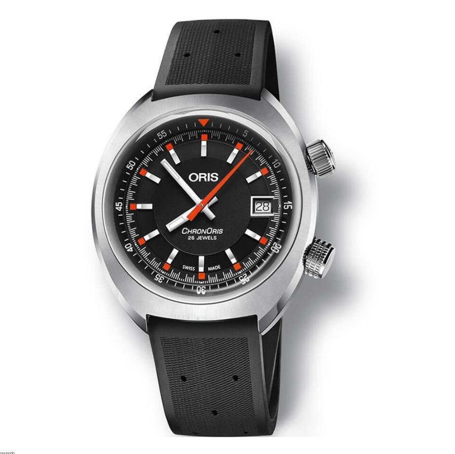 Đồng hồ Oris Chronoris Date Black Dial Rubber Strap