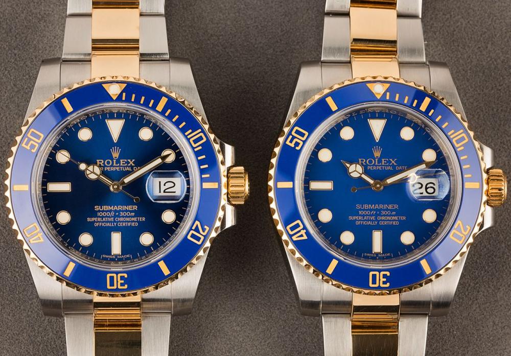 Hai mặt Blue số khác nhau của đồng hồ Rolex Submariner 116613LB