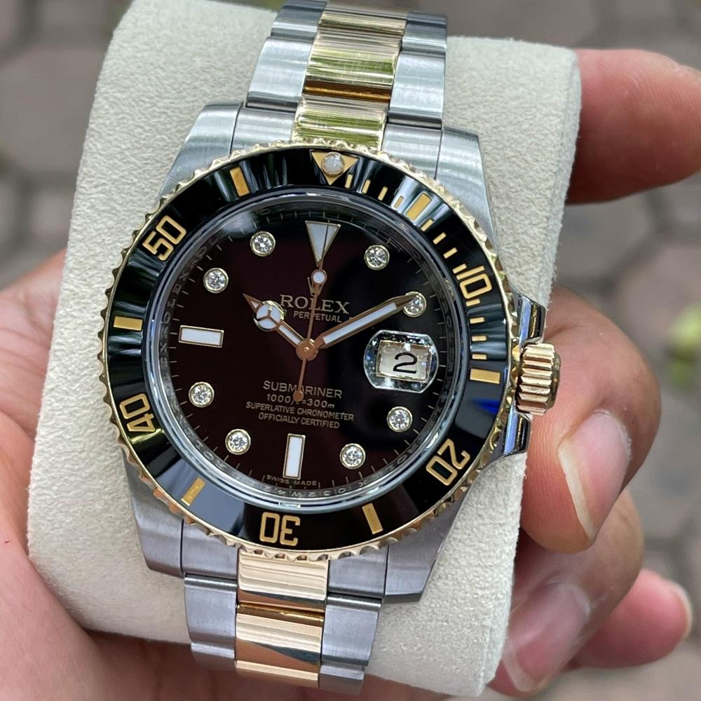 Đồng hồ Rolex Submariner Date 116613LN Mặt đen Demi vàng 18k