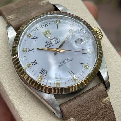 Đồng hồ Tudor Day-Date 94613 Mặt trắng men Demi vàng 18k Size 36mm