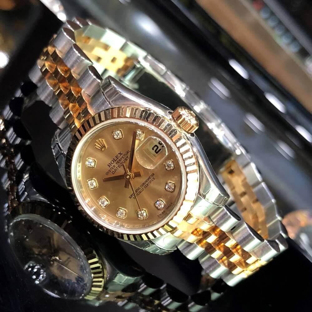 Đồng hồ Rolex Lady-Datejust 179173 Mặt số Champagne Demi vàng 18k Fullbox 2008