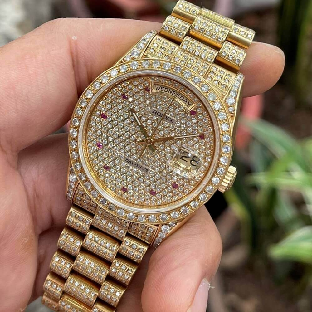 Đồng hồ Rolex Day-Date 18238 vàng khối 18k Full Kim cương Size 36mm