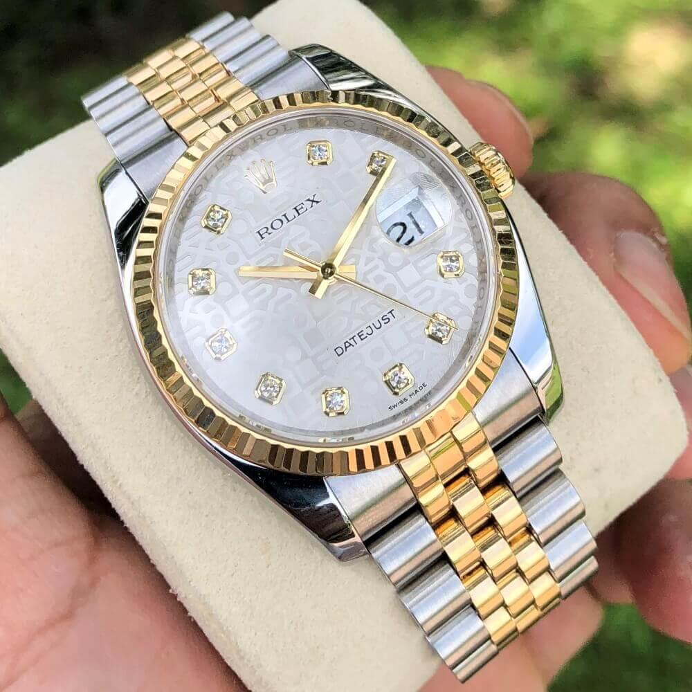 Đồng hồ Rolex Datejust 116233 Mặt vi tính trắng Demi vàng 18k Fullbox