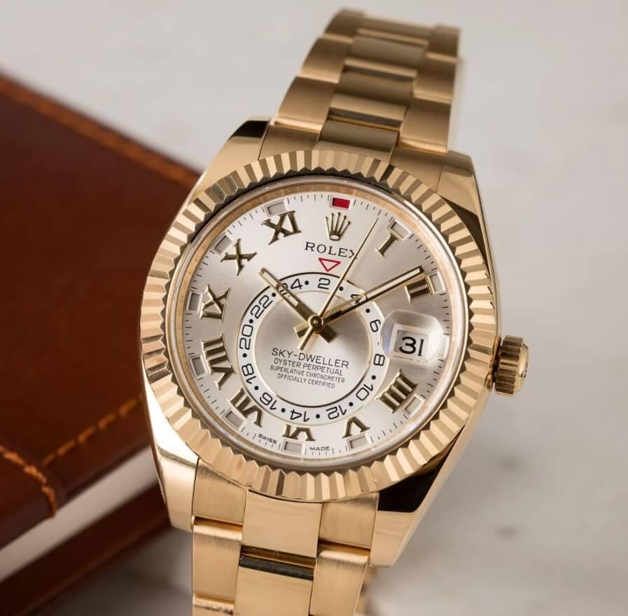 Đồng hồ Rolex Sky-Dweller 326938 vàng vàng nguyên khối