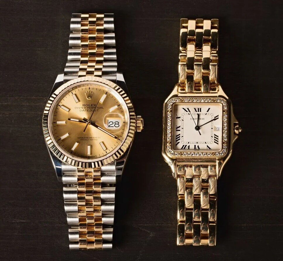 Giá trị giữa đồng hồ Cartier Panthere với Rolex Datejust