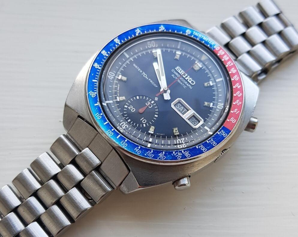 Đồng hồ Seiko 6139-600X - Mặt số màu xanh