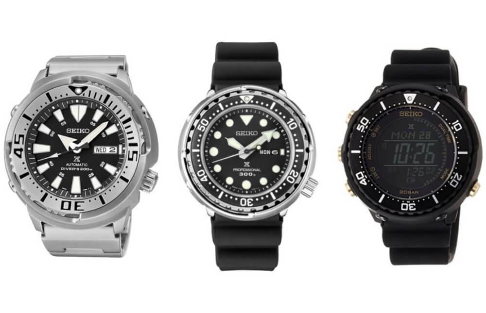 So sánh đồng hồ Seiko Baby Tuna SRP637 vs Seiko Tuna S23629 vs Seiko Digi Tuna SBEP005
