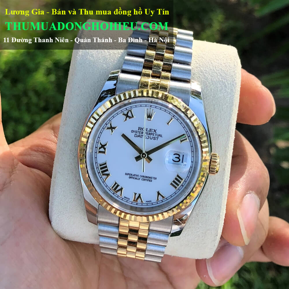 Đồng hồ Rolex Datejust 116233 Mặt trắng men Demi vàng 18k Size 36mm Đời 2006